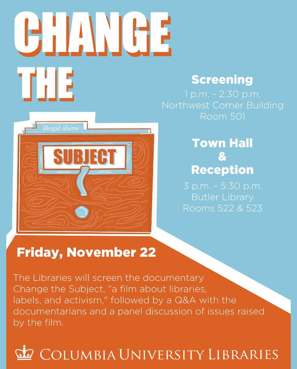 Flyer for Change the Subject event, with event details and description reproduced in event copy.