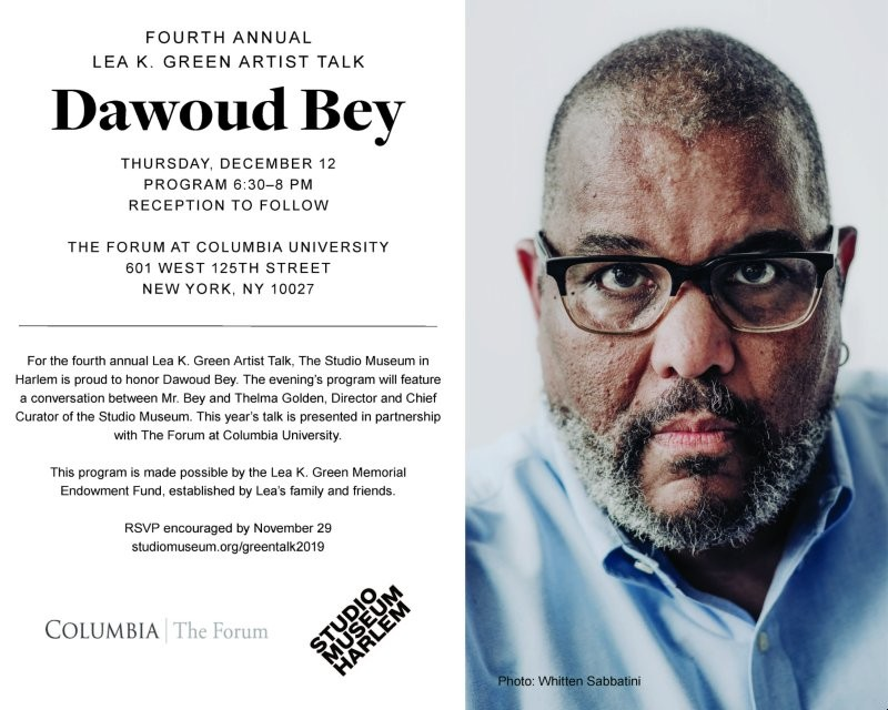 A photograph of Dawoud Bey in glasses and a blue shirt, looking at the camera, as well as event details replicated in the description below.