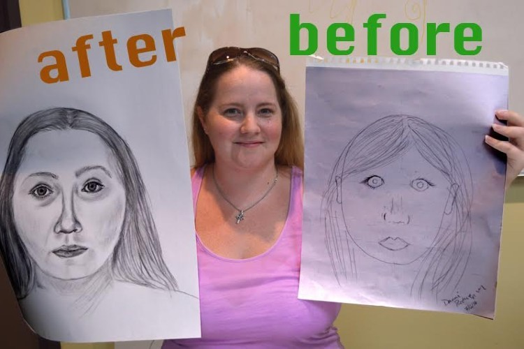 "A woman in a pink shirt holding up two portraits, one labeled ""before"" and one labeled ""after."""