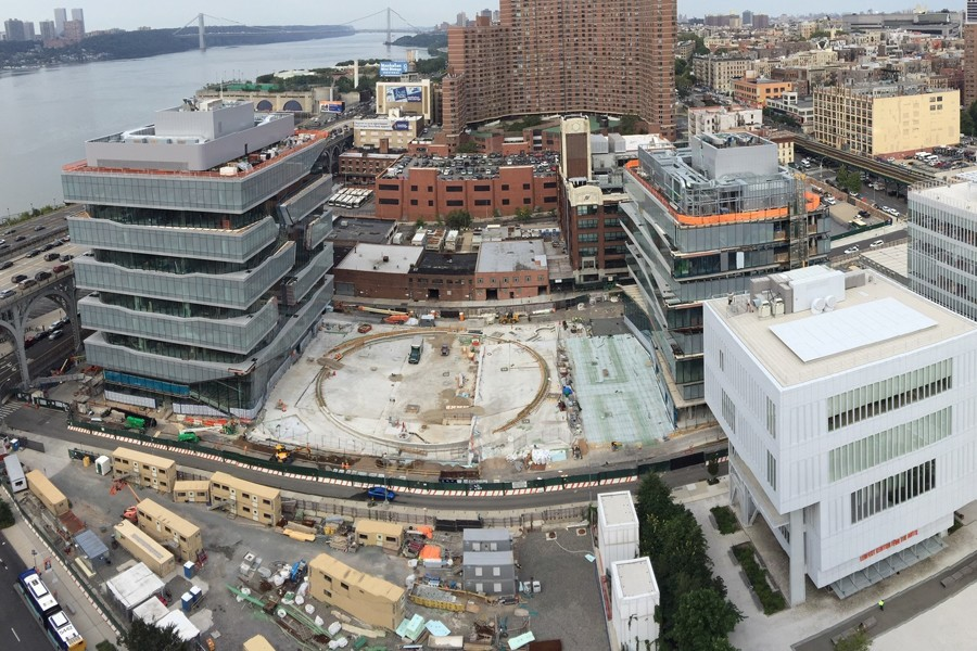 Aerial view of Columbia Manhattanville campus construction site.