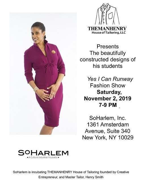 Flyer with an image of a woman in a purple dress, and details about the time and location of the fashion show.