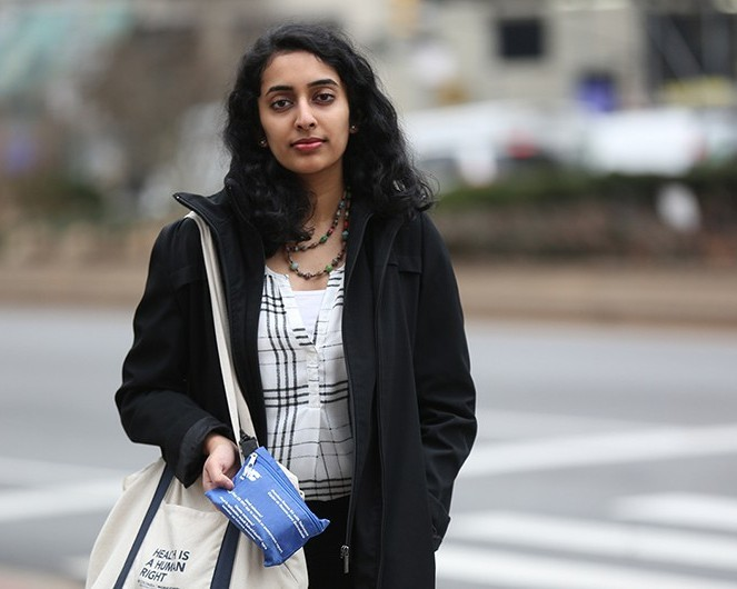Columbia student Sonalee Rau saved the life of a man in East Harlem who overdosed from opioids. She never goes out without the blue kit that carries the overdose-reversal drug Narcan strapped to her bag. Photo: Bruce Gilbert