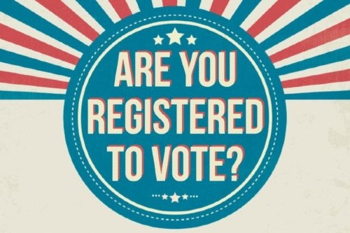 Graphic with text - are you registered to vote
