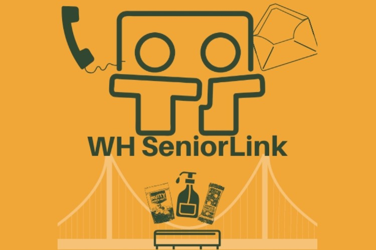 WH Senior Link Logo - graphics of essential supplies, phone, envelope, and decorative elements.