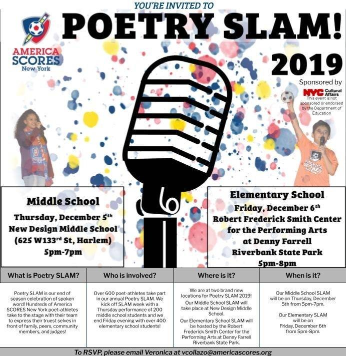 Flyer with details for elementary and middle school poetry slams.