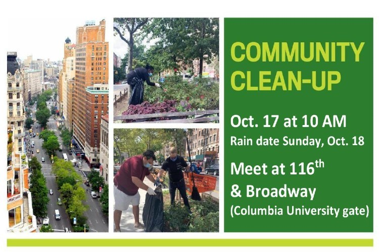 banner for broadway mall clean up with images of city streets