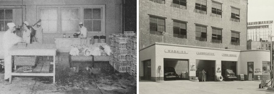 Left: Interior of Sheffield Farms milk processing plant (now Prentis Hall); right: nearby gas station.