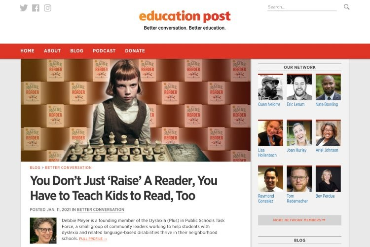 Screenshot of Debbie Meyer's article on Education Post.