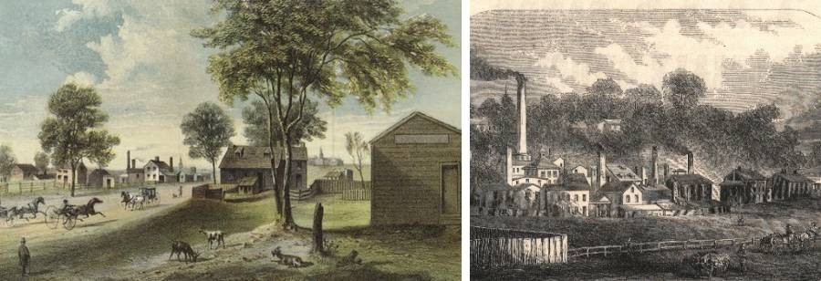 Left: Harlem-Lane from Central Park to Manhattanville, 1865; right: early industry—Daniel F. Tiemann Paint Factory, circa 1850.