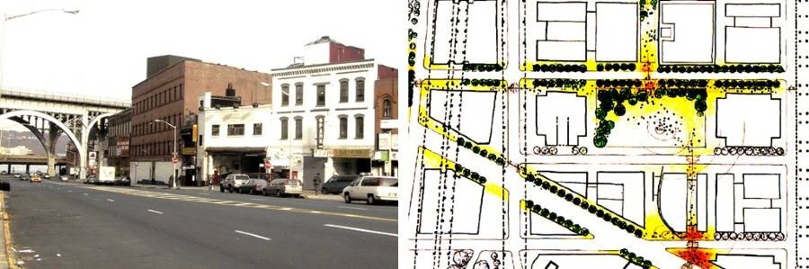 Left: 125th Street looking NW from Broadway to Riverside Drive viaduct, circa 2003; right: early sketch of campus greening plan.
