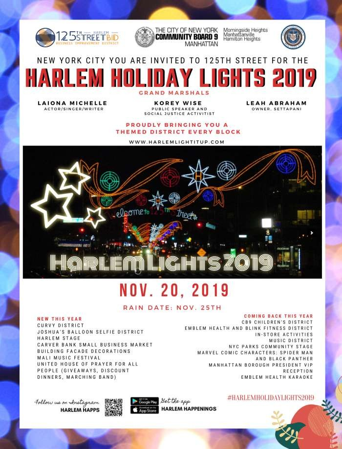 Flyer for Harlem Holiday Lights with list of partners and participating businesses