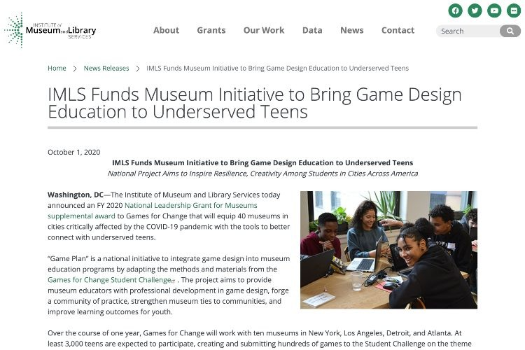 Screencap of Game Design initiative press release.