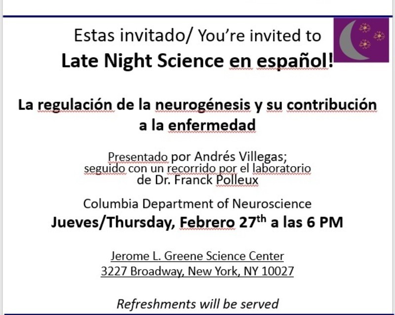 Late Night Science flyer in Spanish.