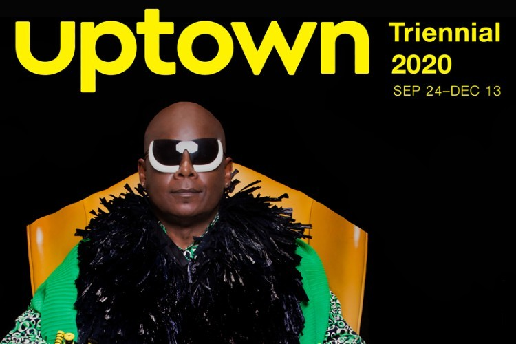 uptown triennial 2020 in yellow text with a bald man wearing glasses and a fur coat.